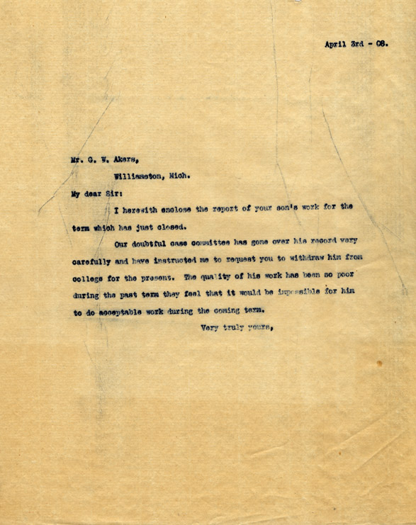 C. Letter from M.A.C. President Jonathan Snyder to G. W. Akers