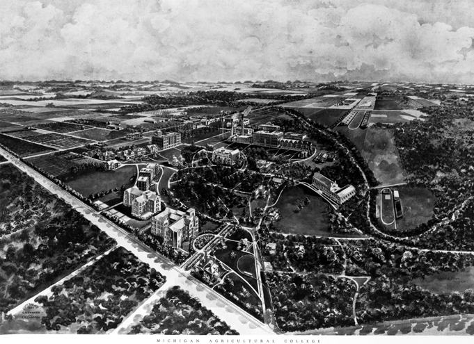 1923 Illustration of Michigan Agricultural College