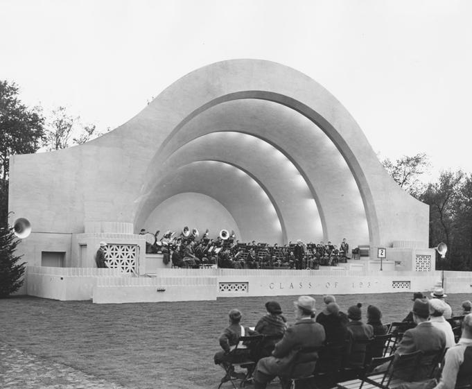 College President Shaw speaks at the Dedication of the Band Shell, 1938