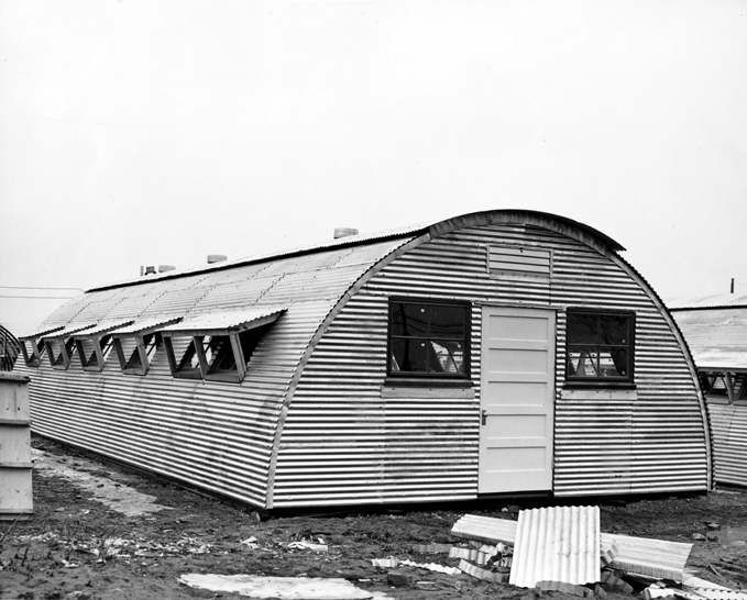 Close Up of Quonset Construction, circa 1945