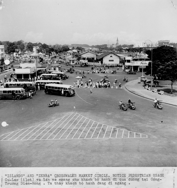 An aerial view of a large traffic circle in Vietnam