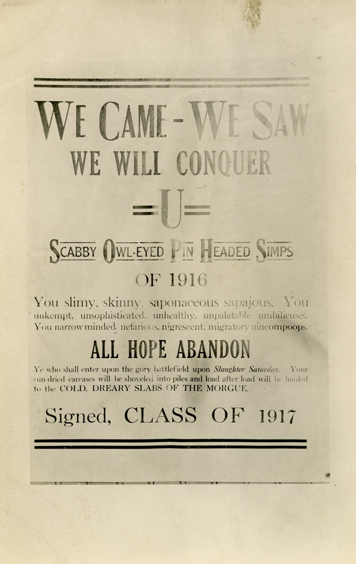 Class rivalry poster postcard, 1913
