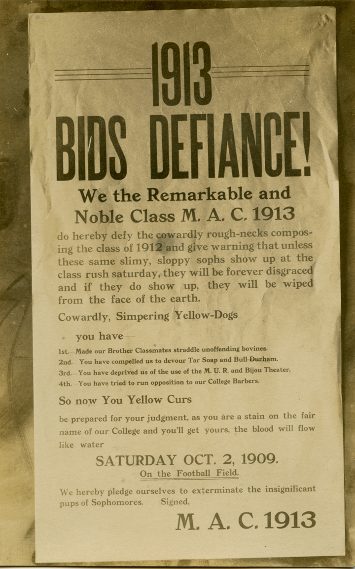 Class rivalry poster postcard, 1909