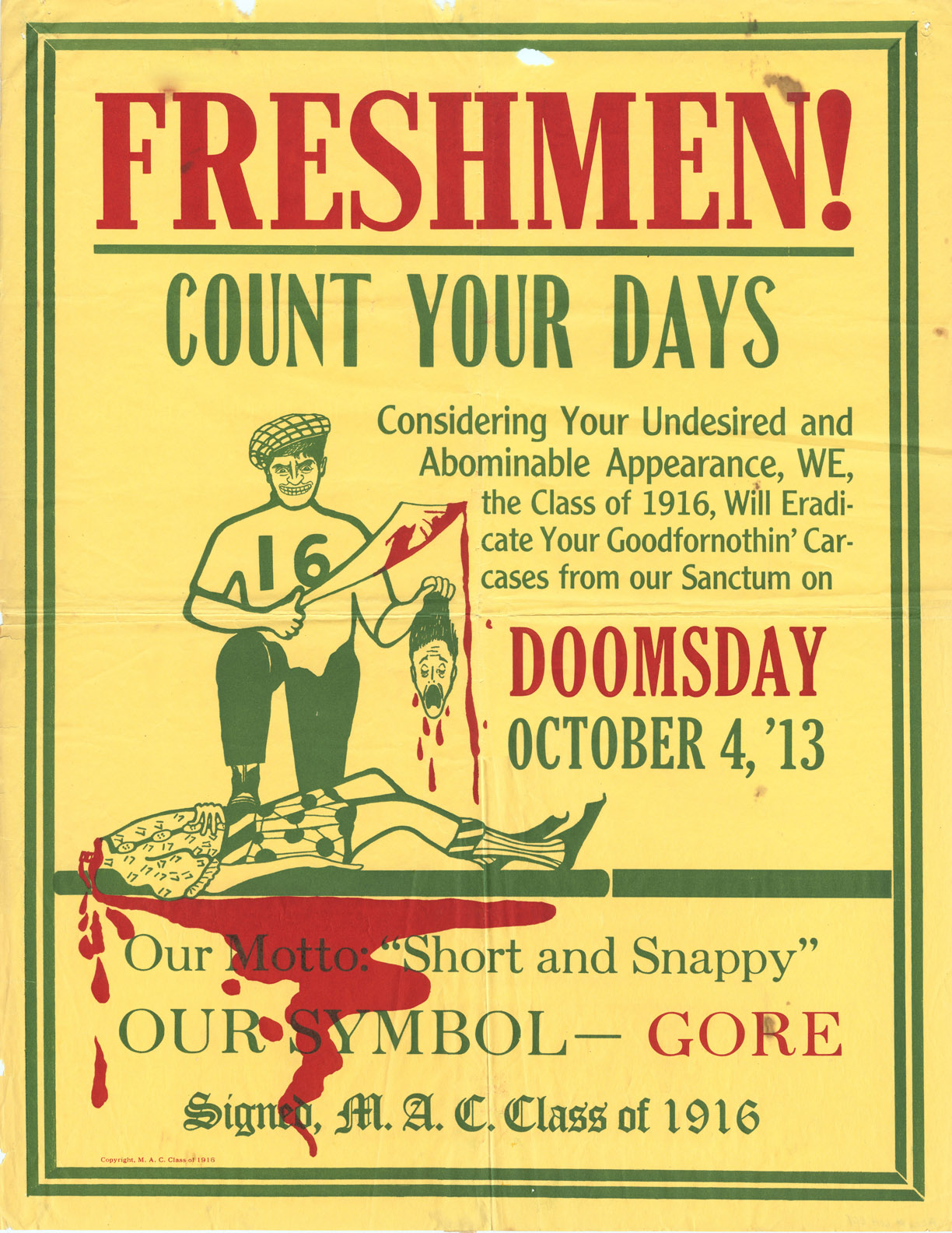 Doomsday Class Rivalry Poster, 1913