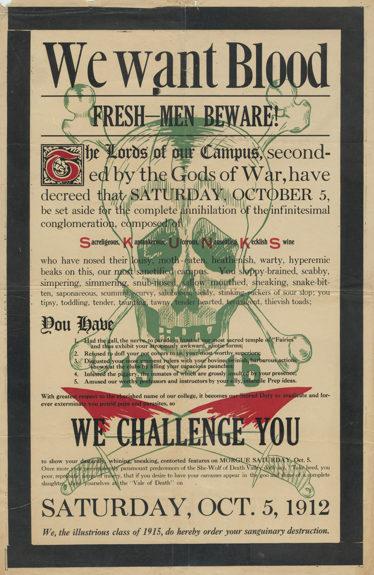We Want Blood Poster, 1912