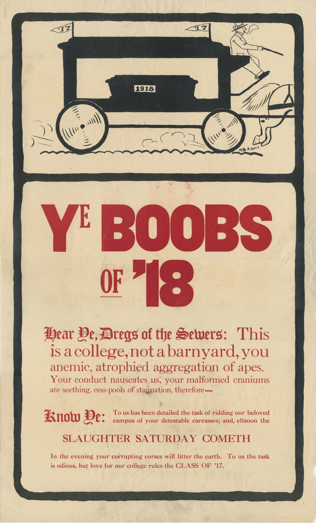 Hearse Class Rivalry Poster, 1914