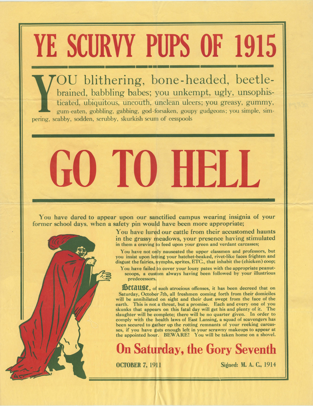 Go To Hell Class Rivalry Poster, 1911