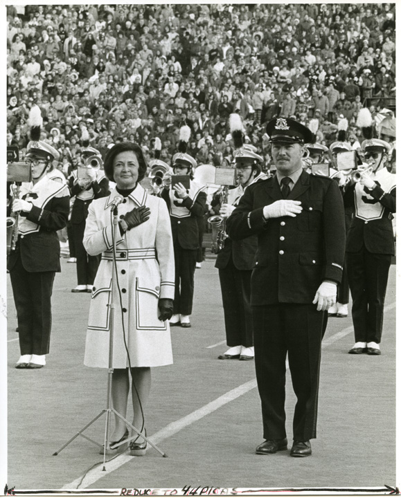 Dolores Wharton with Band Director Bloomquist, 1973