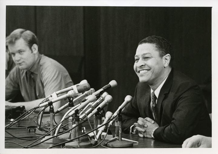 Clifton Wharton at his first press conference, 1969