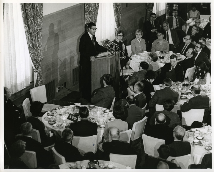 Clifton Wharton Addresses the Faculty Club, 1970