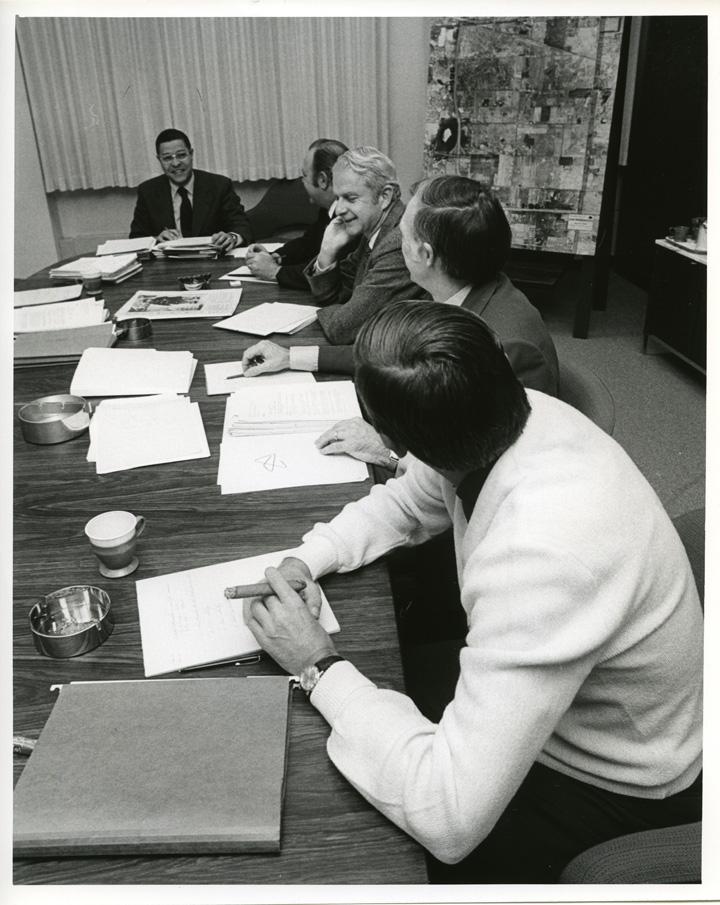Clifton Wharton chairs Executive Group meeting, 1971
