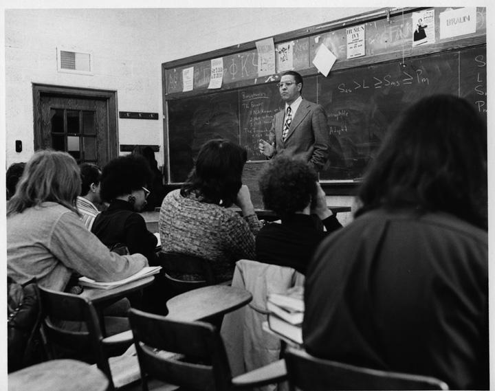 Clifton Wharton in the classroom, 1973