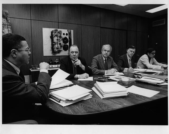 Clifton Wharton speaks with the Executive Group, 1974