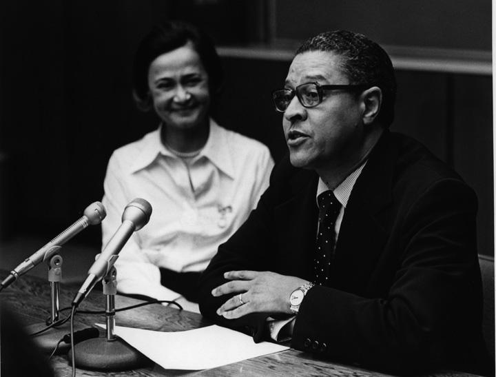 Clifton Wharton at his resignation press conference, 1977