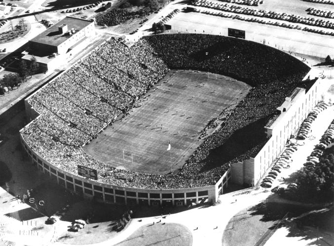 Aerial view of stadium, 1952