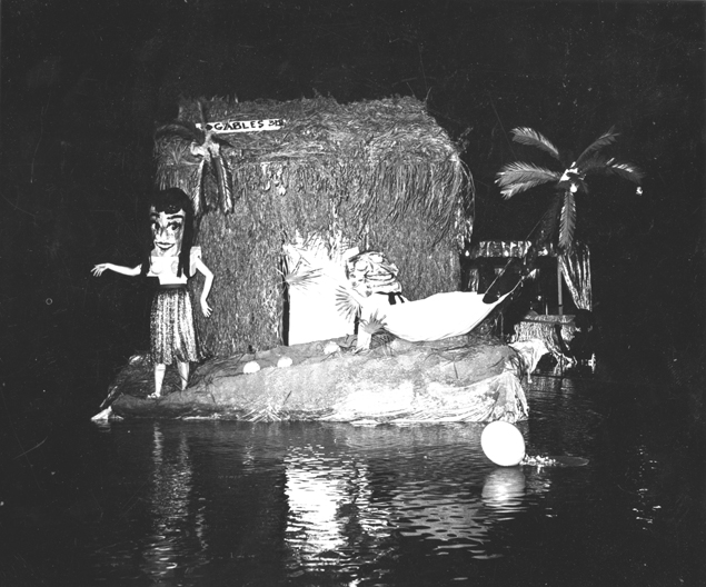 Water Carnival Hawaiian float, 1950s