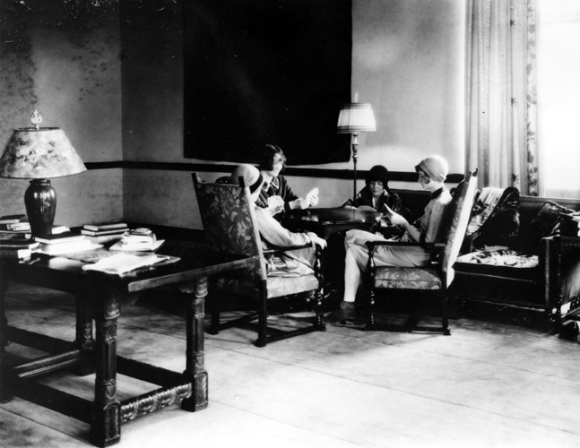 Women play cards in Mayo Hall, circa 1930s