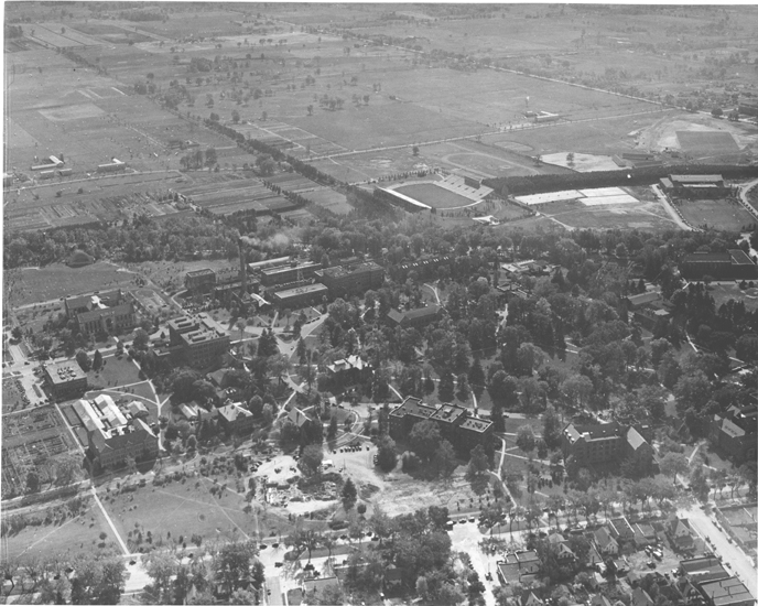 Aerial View of Campus Construction, 1939