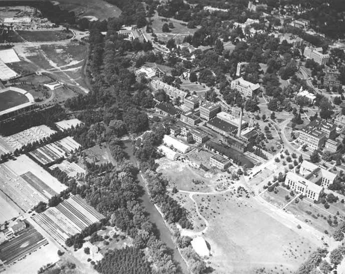 Campus and East Lansing from the Air, 1939