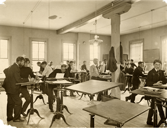 Engineering Students in a Drafting Course, 1909