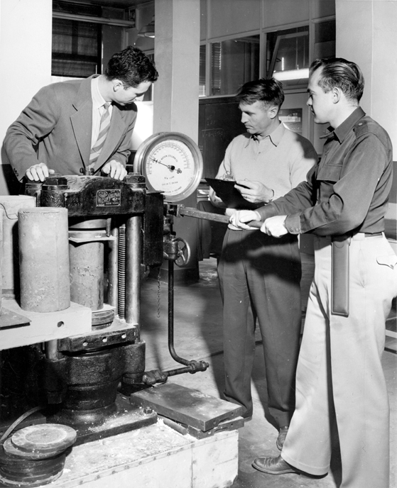 Engineering Students Test Cylinders, 1947
