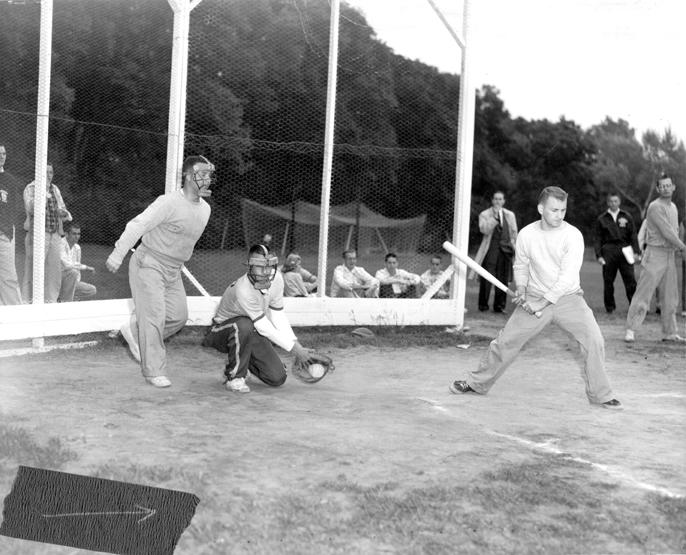 A men's intramural game of softball, 1957
