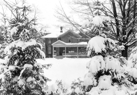 A snow covered Cowles House, 1940's