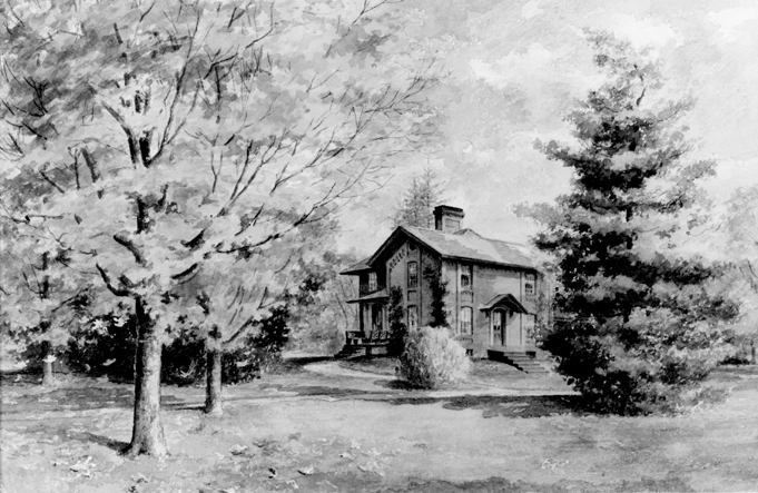 A watercolor painting of the Cowles House, 1895