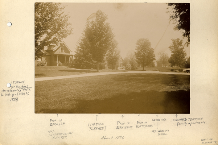 A long shot of several buildings on Faculty Row, 1896