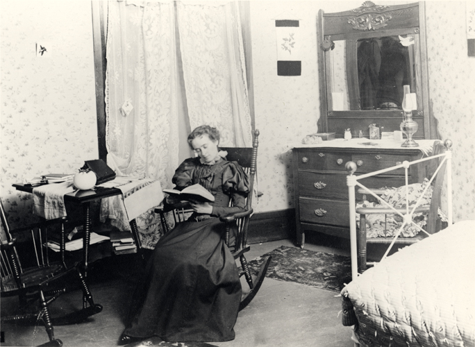 A female student in her dorm, 1896