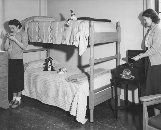 Two female students in their dorm room, 1946