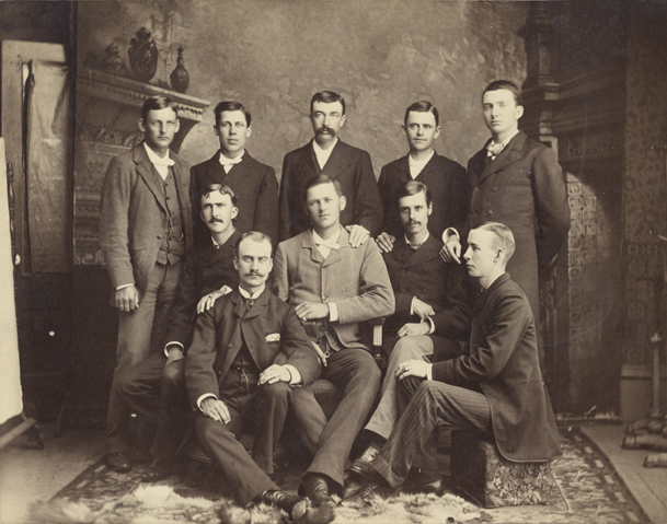 Male students pose for a picture