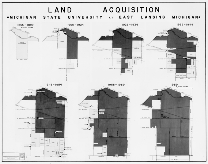 A map of land acquisitions between 1855-1959