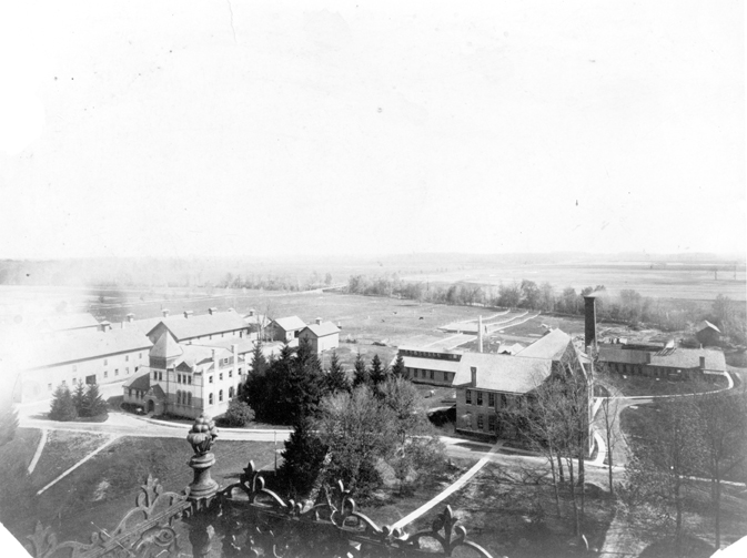 Aerial view Williams Hall, 1897 ca.