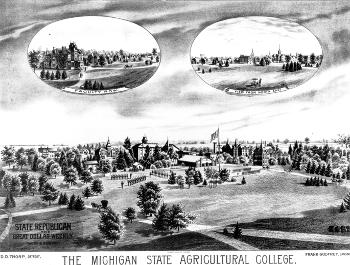 Illustration of MAC campus w/Faculty Row and North East view, 1885