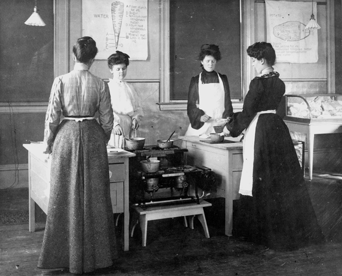 Jennie Lind Haner's cooking class, late 1890s