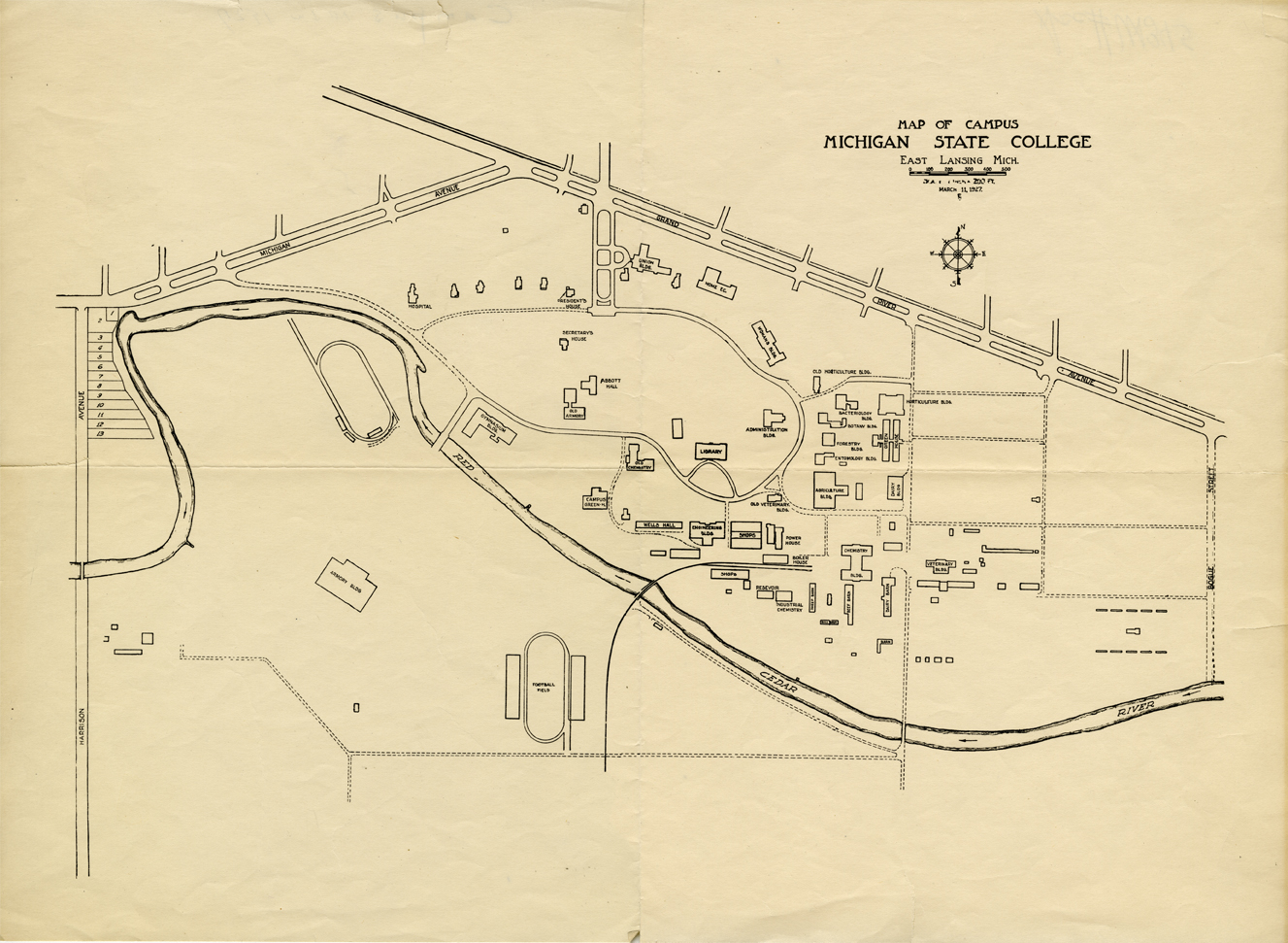 Map of MSU campus and buildings, 1927