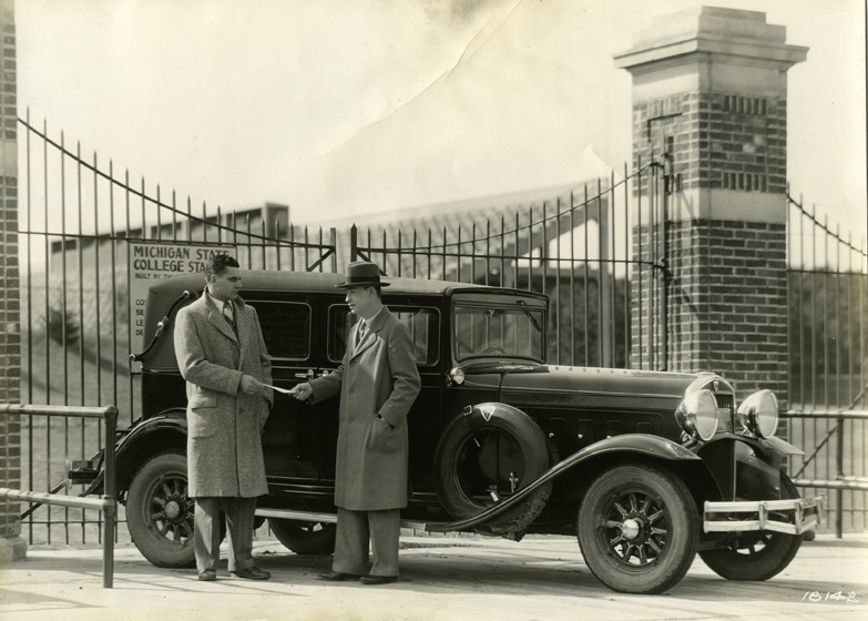 James Crowley and Harold Smead are delivered of a new car, 1930