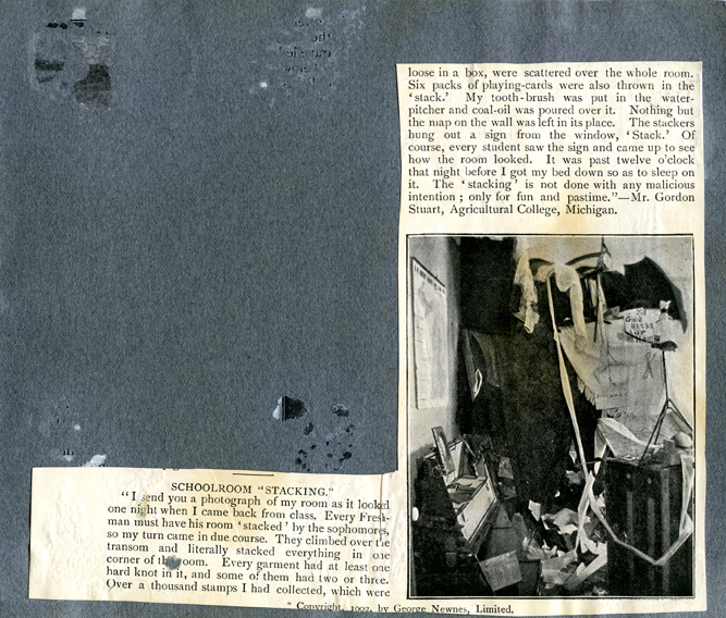 Scrapbook page about room stacking pranks, 1902
