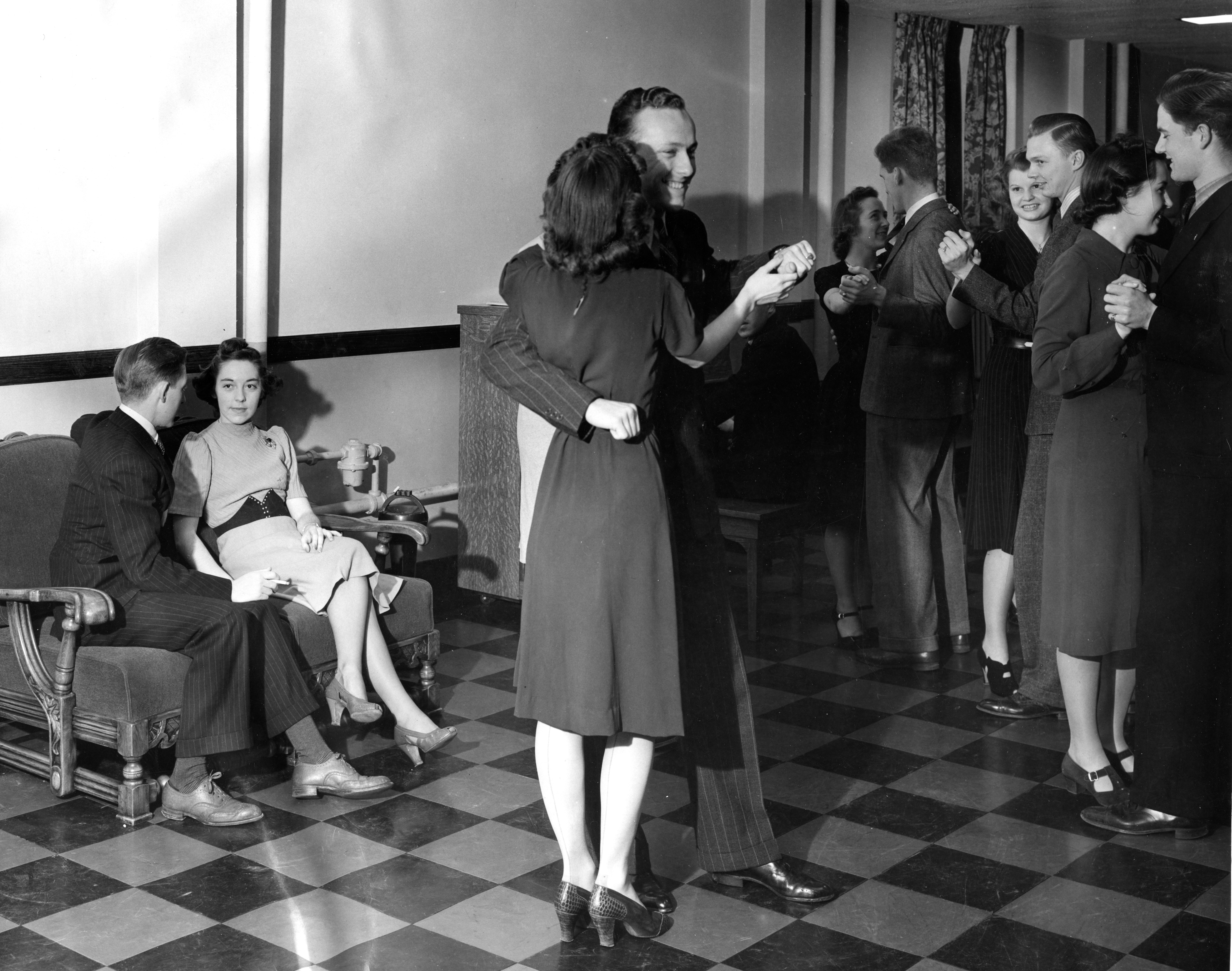 Students have a dance at their dorm, undated