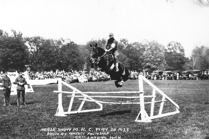 Cavalry competing in a horse show, 1923
