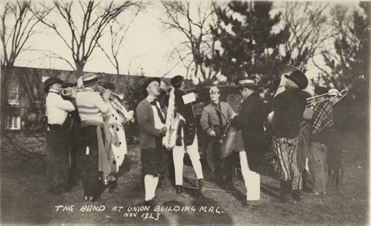 A band performing outside the Union Building, 1923