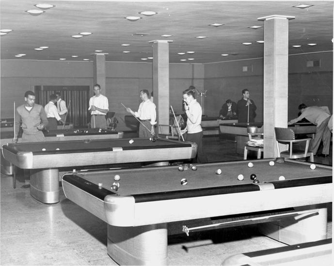 Billiard room in the Union Building, 1949