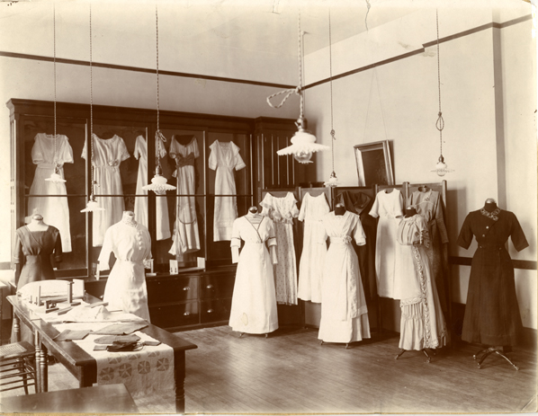 Clothing display in Morrill Hall, date unknown