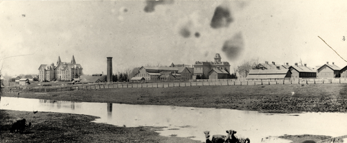 Campus view from Farm Lane, 1890s
