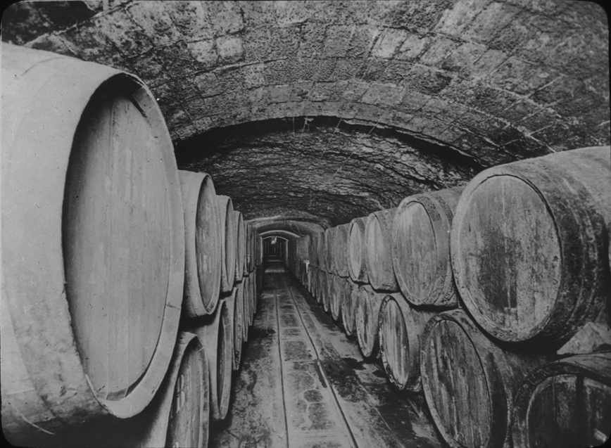 Barrels in a vaulted Spanish tunnel, undated
