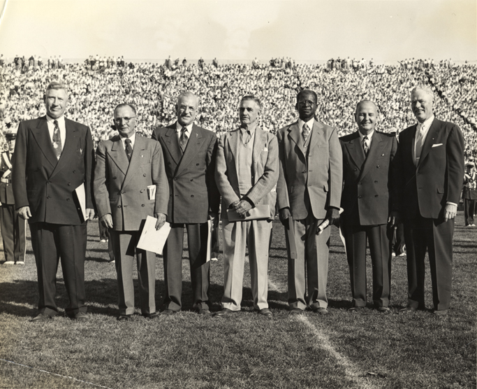 1913 Football team alums at the Homecoming game half-time, 1953