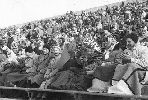 Fans at an MSU football game, 1957