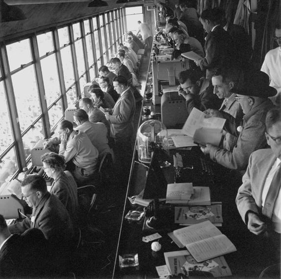 Football press box, 1956