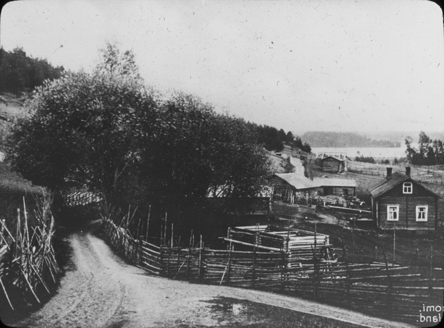 Rural road and cabins in Finland, undated